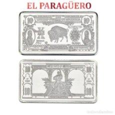 Antigüedades: LINGOTE DE 10 DOLARES PLATA DE 32 GRA ( 2 PRESIDENTES Y UN BUFALO )Nº1. Lote 199169797