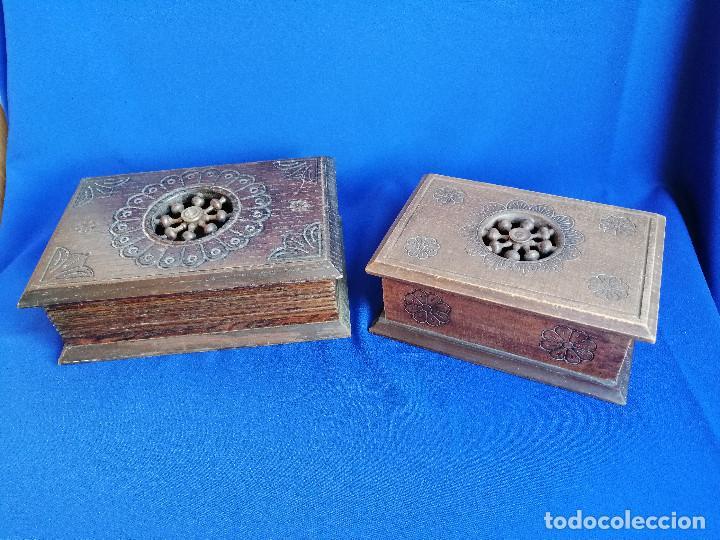 LOTE DE CAJAS DE MADERA ANTIGUAS CON DIBUJOS (Antigüedades - Hogar y Decoración - Cajas Antiguas)