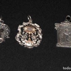Antigüedades: LOTE DE 3 MEDALLAS DE PLATA. Lote 199248045