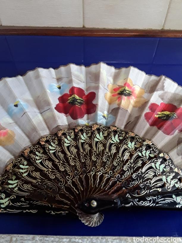 Antigüedades: Abanico de pasta pintado a mano del siglo XIX - Foto 2 - 199271265