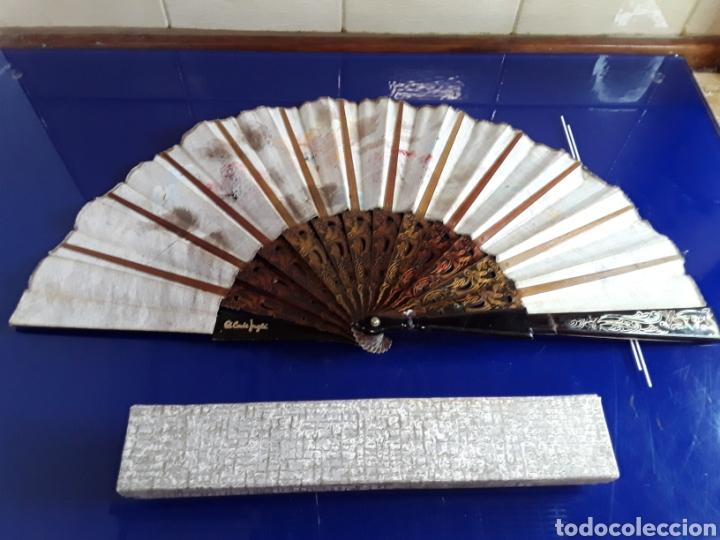 Antigüedades: Abanico de pasta pintado a mano del siglo XIX - Foto 3 - 199271265