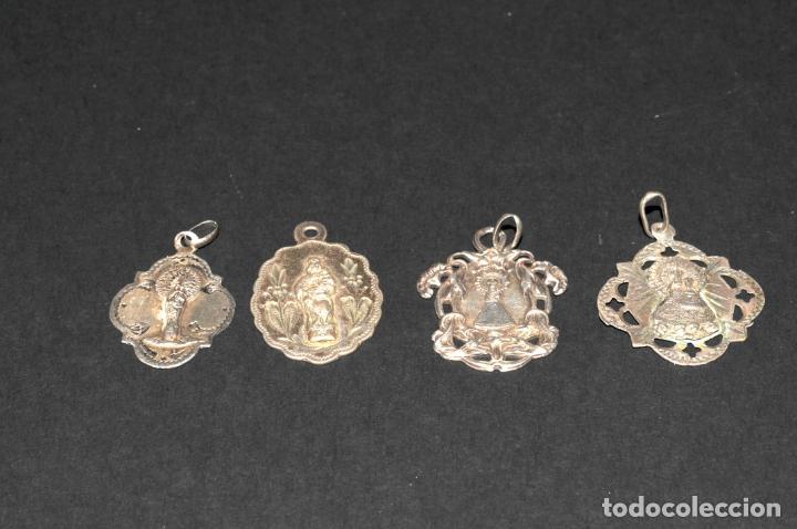 LOTE DE 4 MEDALLAS DE PLATA - 3 DEL PILAR Y 1 DE VALL VANA (MORELLA) (Antigüedades - Religiosas - Medallas Antiguas)