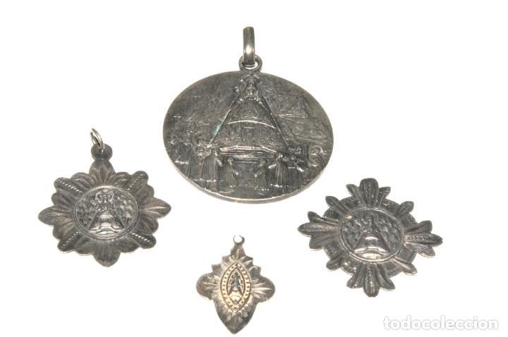 Antigüedades: LOTE DE 4 MEDALLAS DE PLATA DE MONTSERRAT - Foto 3 - 199279618
