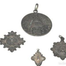 Antigüedades: LOTE DE 4 MEDALLAS DE PLATA DE MONTSERRAT. Lote 199279618
