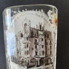 Antigüedades: PALMA DE MALLORCA - VASO DE BALNEARIO - SOUVENIR GRAN HOTEL PROPIETARIO A. ALBAREDA - 7,3 X 10 CM.. Lote 199308152