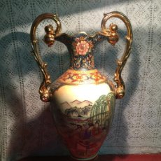 Antigüedades: ANTIGUO JARRÓN / FLORERO DE PORCELANA MARCA SATSUMA STYLE CON SELLO EN PARTE INFERIOR. Lote 199315796