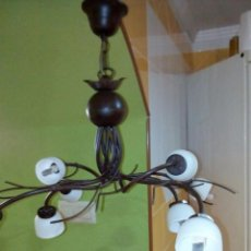 Antigüedades: BONITA LAMPARA DE FORJA. Lote 199338176