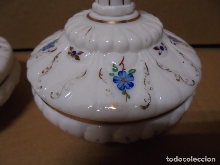 Antigüedades: magnifico juego antiguo de tocador en cristal de opalina,joyero y perfumero - Foto 4 - 199343176