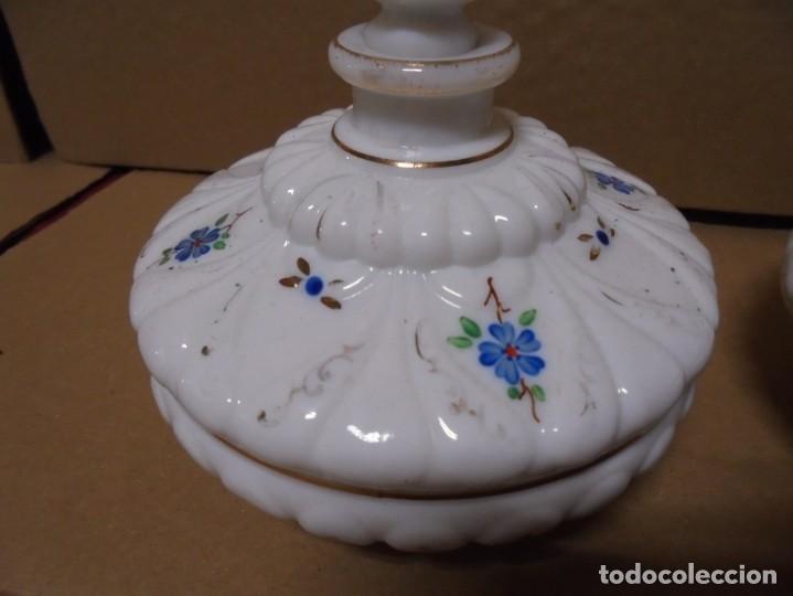 Antigüedades: magnifico juego antiguo de tocador en cristal de opalina,joyero y perfumero - Foto 5 - 199343176