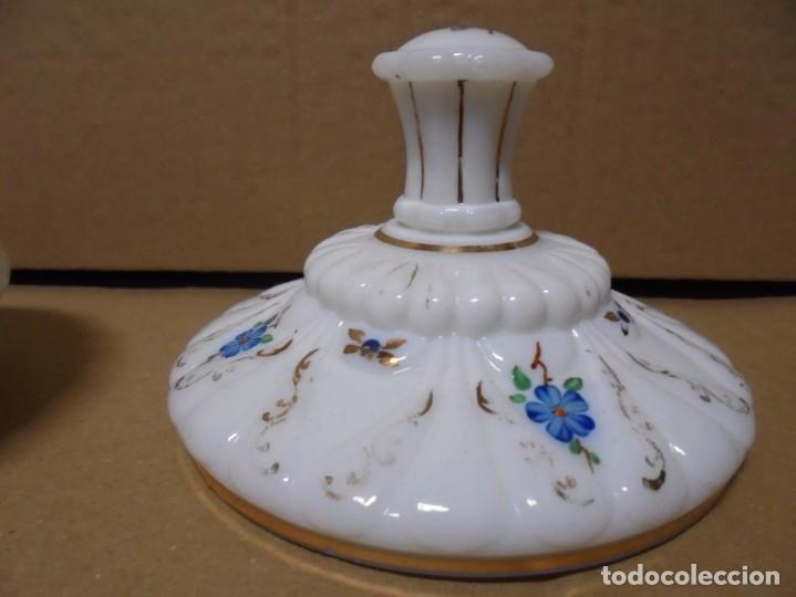Antigüedades: magnifico juego antiguo de tocador en cristal de opalina,joyero y perfumero - Foto 8 - 199343176
