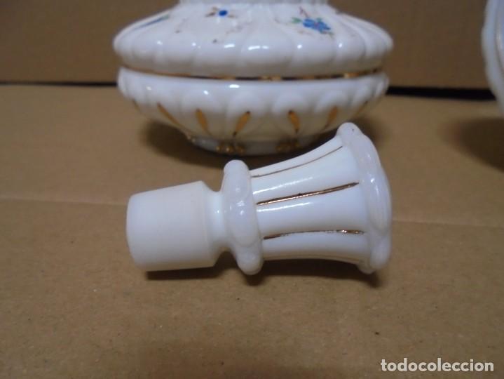 Antigüedades: magnifico juego antiguo de tocador en cristal de opalina,joyero y perfumero - Foto 11 - 199343176