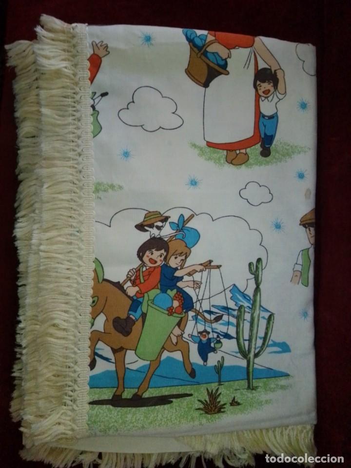 Antigüedades: Antigua colcha de la serie de dibujos Marco, de TVE. Años 70. - Foto 7 - 199358113
