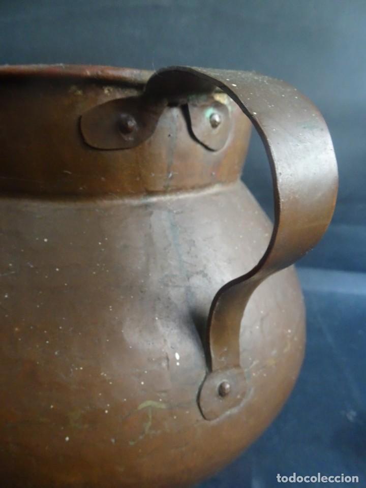Antigüedades: ANTIGUO JARRÓN CON ASAS ,18cm ALTO 20cm X 20cm BASE 10cm , COBRE O BRONCE ,VER FOTOS - Foto 8 - 199358217
