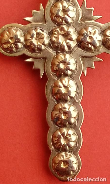 Antigüedades: CRUZ S. XIX. MONTURA EN ORO 18 KILATES CON DIAMANTES NEGROS TALLA ROSA DE FRANCIA. 6 GRAMOS - Foto 7 - 53345098