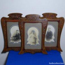 Antigüedades: 3 BONITOS PORTA FOTOS MODERNISTAS DEL AÑO 1910 CON FOTOGRAFÍAS DE LA ÉPOCA.. Lote 199374932