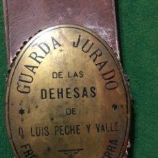 Antigüedades: PLACA DE GUARDA JURADO CAZA. Lote 199405313