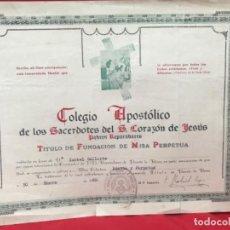 Antigüedades: TITULO MISA PERPETUA COLEGIO APOSTOLICO SACERDOTES DE S CORAZON PADRES REPARADORES PUENTE LA REINA. Lote 199435632