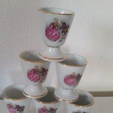 Antigüedades: PRECIOS JUEGO DE 6 TAZAS A CAFE PORCELANA FRANCESA PINTADA A MANO CASAL ROMANTICO SELADA TRADICON FR. Lote 199482236
