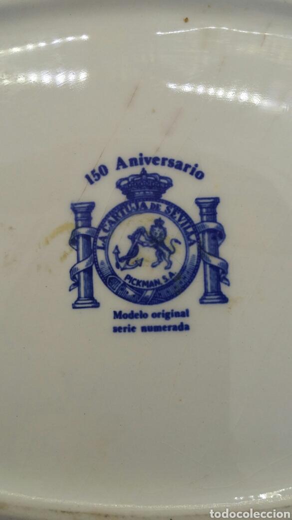 Antigüedades: Fuente mediana La Cartuja Pickmam 150 Aniversario - Foto 5 - 199486508