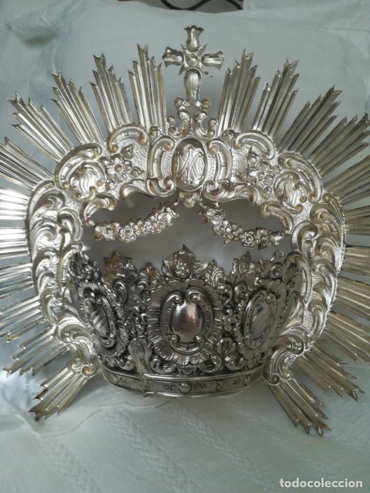 Antigüedades: Antigua corona virgen plata - Foto 4 - 199487966