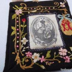 Antigüedades: ANTIGUO ESCAPULARIO BORDADO DE NTRA. SRA. DEL CARMEN. Lote 199491558