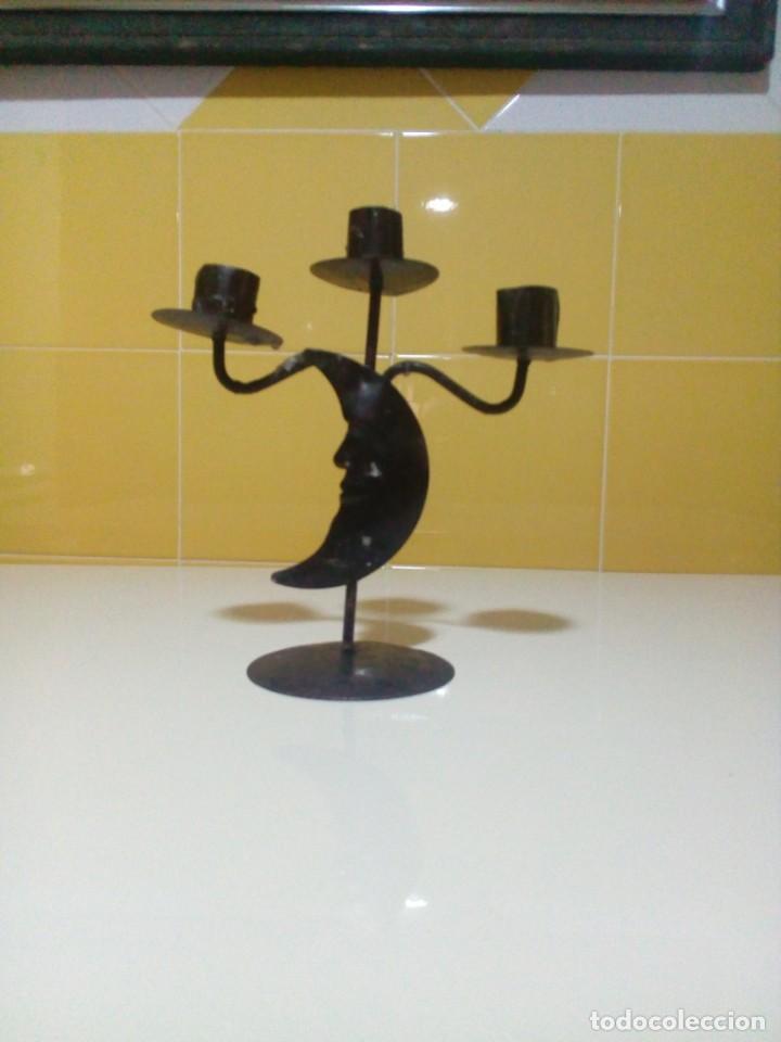 Antigüedades: portavelas de hierro - Foto 2 - 199503557