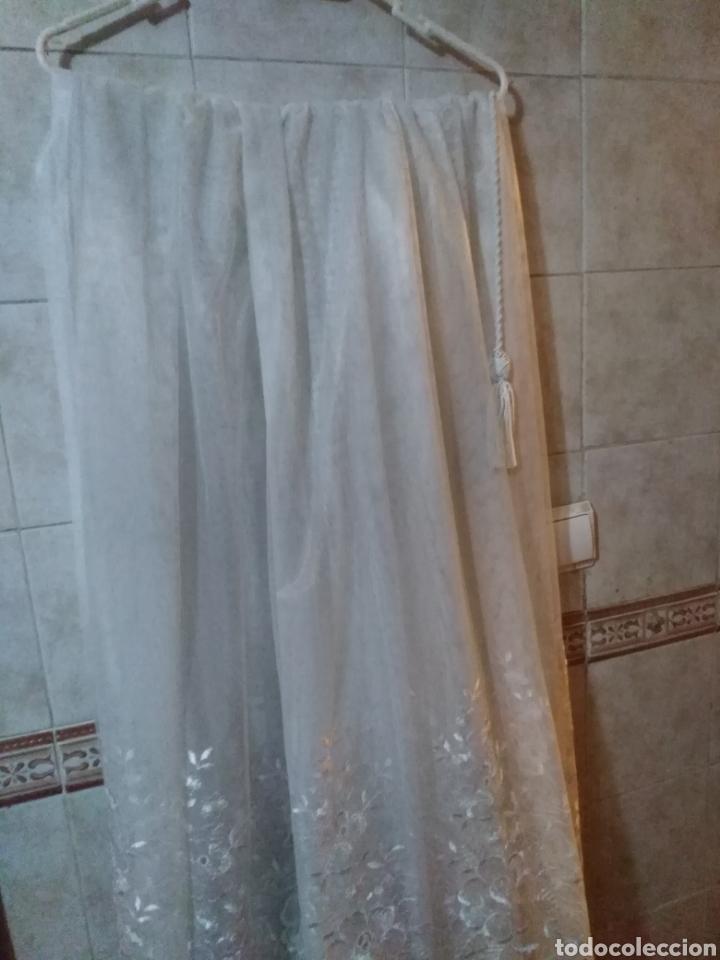 Antigüedades: Juego de cortinas de salón blancas de encaje, con flores. Antiguas - Foto 5 - 199519488