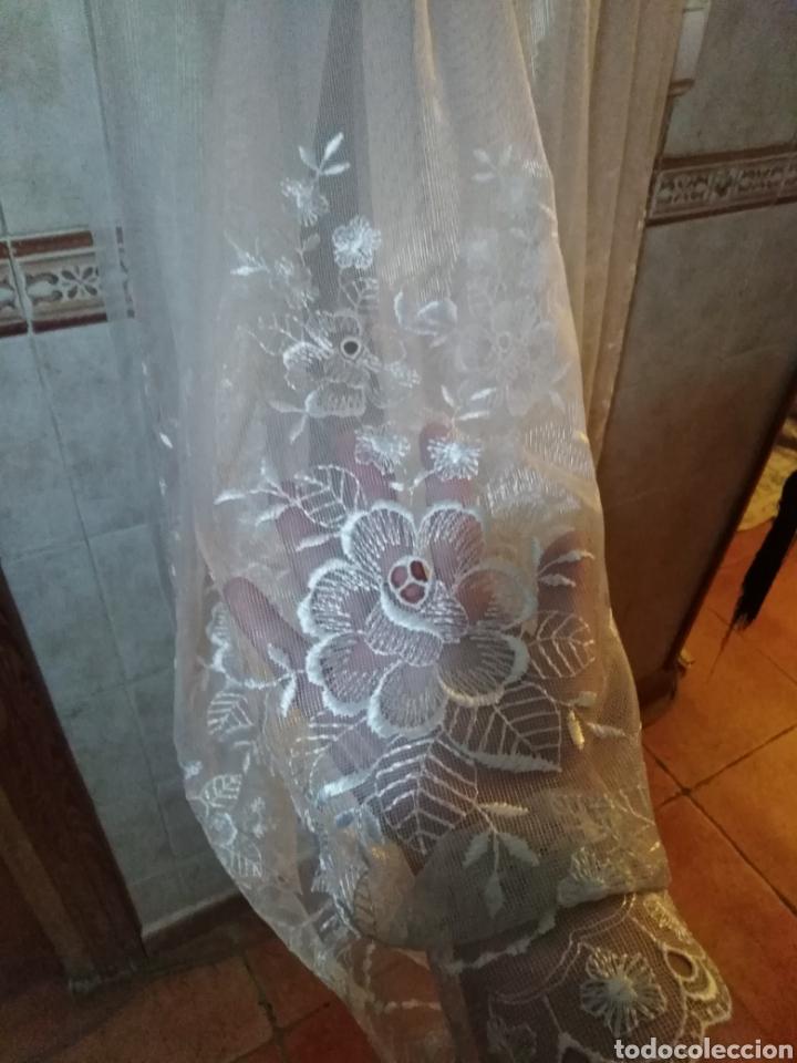 Antigüedades: Juego de cortinas de salón blancas de encaje, con flores. Antiguas - Foto 6 - 199519488