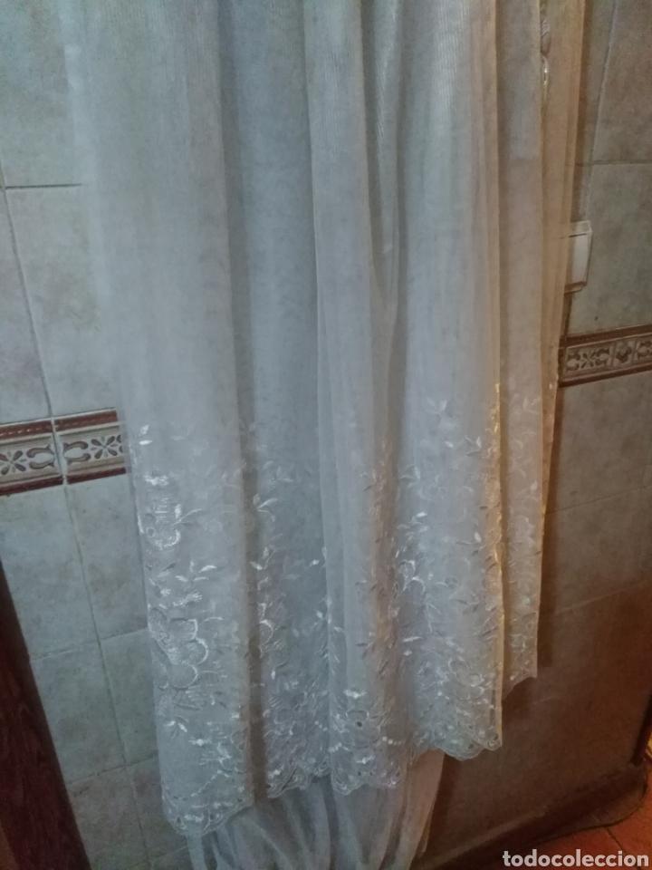 Antigüedades: Juego de cortinas de salón blancas de encaje, con flores. Antiguas - Foto 7 - 199519488