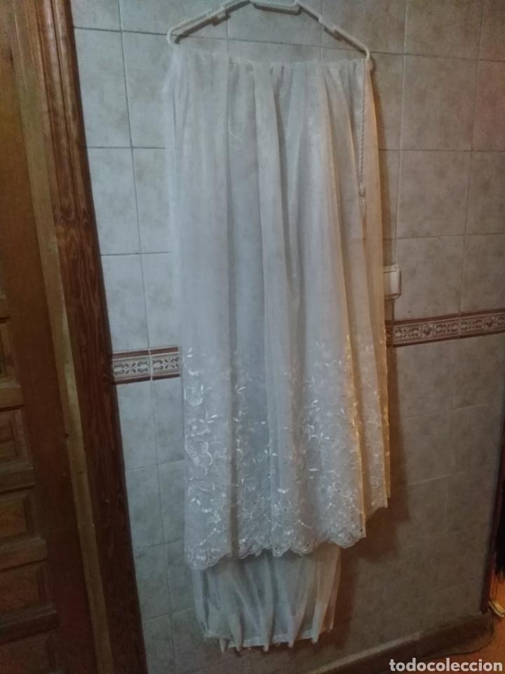 Antigüedades: Juego de cortinas de salón blancas de encaje, con flores. Antiguas - Foto 8 - 199519488