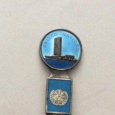 Antigüedades: CUCHARILLA ESMALTADA EN PLATA UNITED NATIONS - NACIONES UNIDAS STERLING NORWAY. Lote 199643038