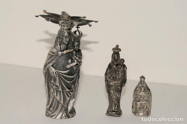 LOTE DE 3 VIRGENES EN PLATA (Antigüedades - Religiosas - Orfebrería Antigua)