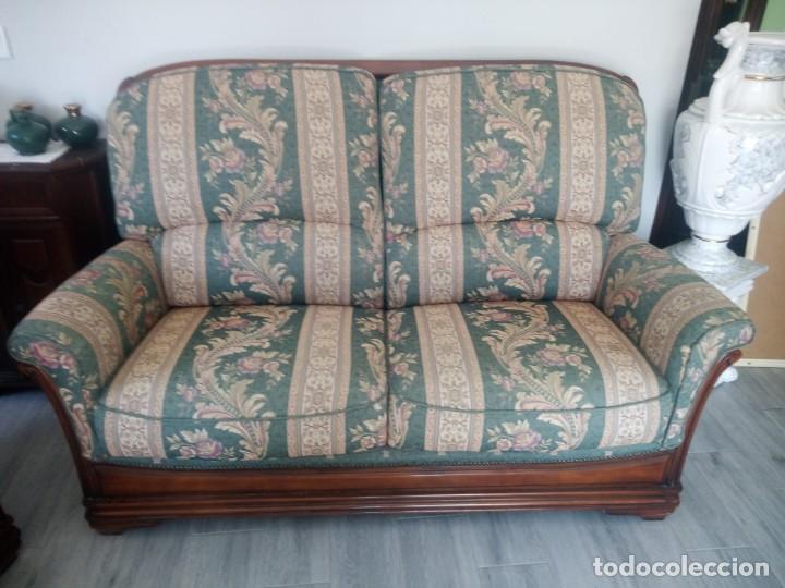 Antigüedades: Conjunto de sofá y 2 sillones,madera de roble y tapizado tonos verdes floral.años 40 - Foto 3 - 199670115