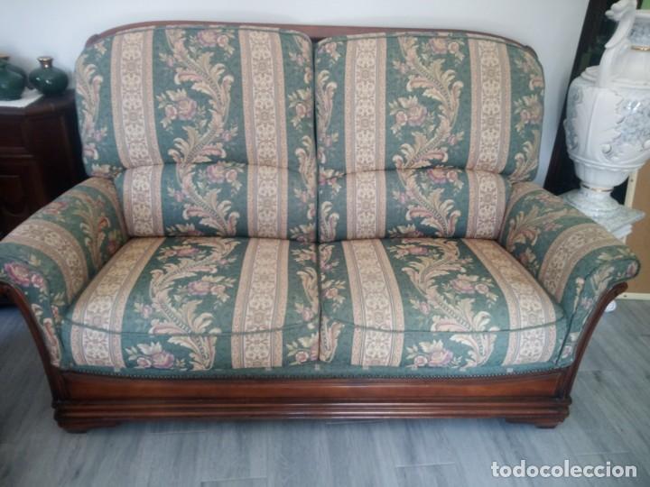 Antigüedades: Conjunto de sofá y 2 sillones,madera de roble y tapizado tonos verdes floral.años 40 - Foto 4 - 199670115