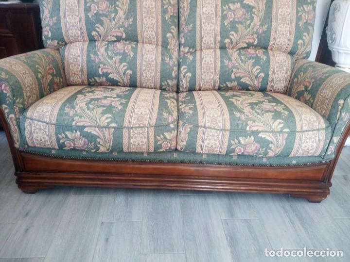 Antigüedades: Conjunto de sofá y 2 sillones,madera de roble y tapizado tonos verdes floral.años 40 - Foto 8 - 199670115