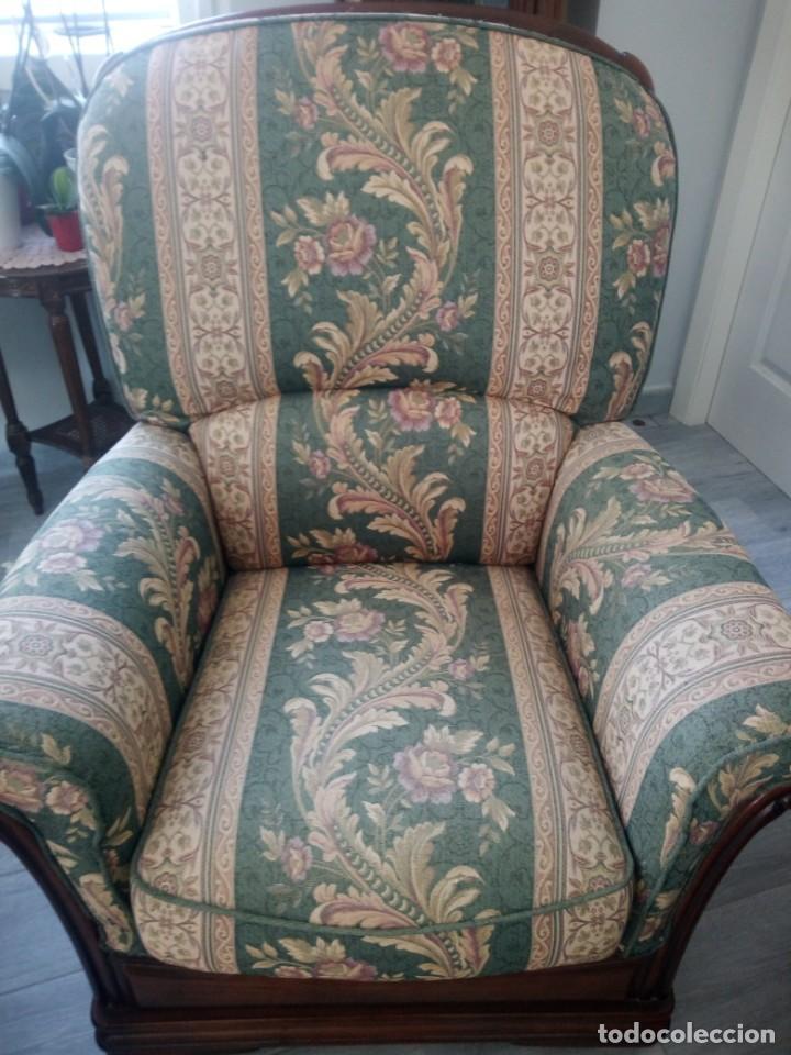 Antigüedades: Conjunto de sofá y 2 sillones,madera de roble y tapizado tonos verdes floral.años 40 - Foto 11 - 199670115