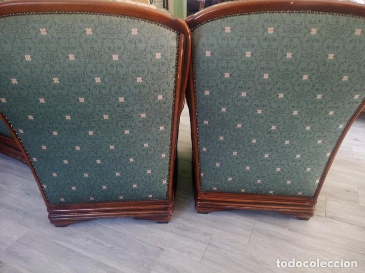Antigüedades: Conjunto de sofá y 2 sillones,madera de roble y tapizado tonos verdes floral.años 40 - Foto 18 - 199670115