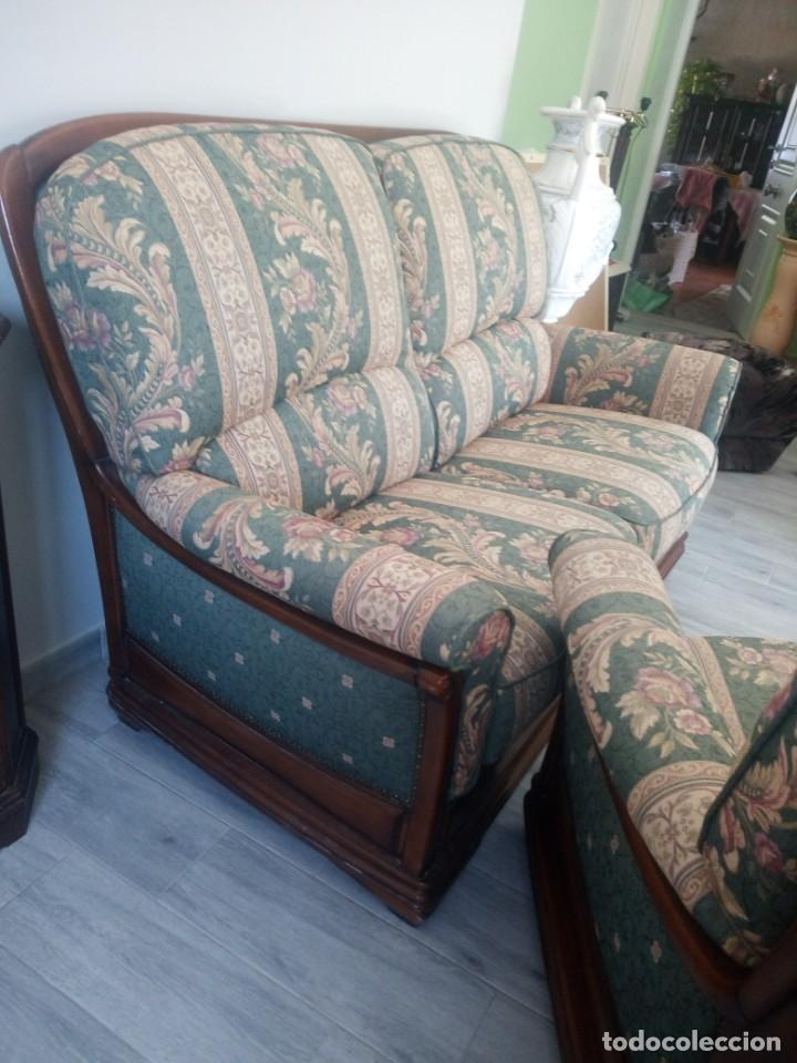 Antigüedades: Conjunto de sofá y 2 sillones,madera de roble y tapizado tonos verdes floral.años 40 - Foto 19 - 199670115