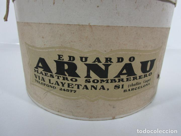 Antigüedades: Sombrero - Chistera en piel de Foca - Eduardo Arnau, Barcelona - con Caja y Guantes - Perfecto - Foto 16 - 199693785