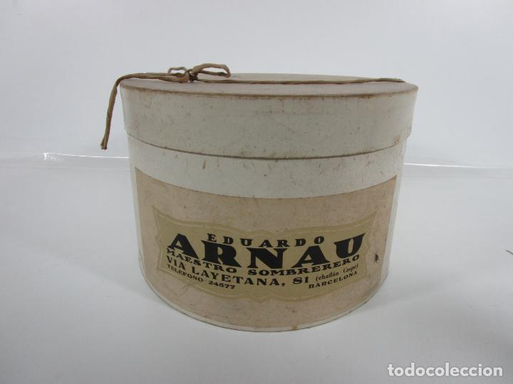 Antigüedades: Sombrero - Chistera en piel de Foca - Eduardo Arnau, Barcelona - con Caja y Guantes - Perfecto - Foto 23 - 199693785
