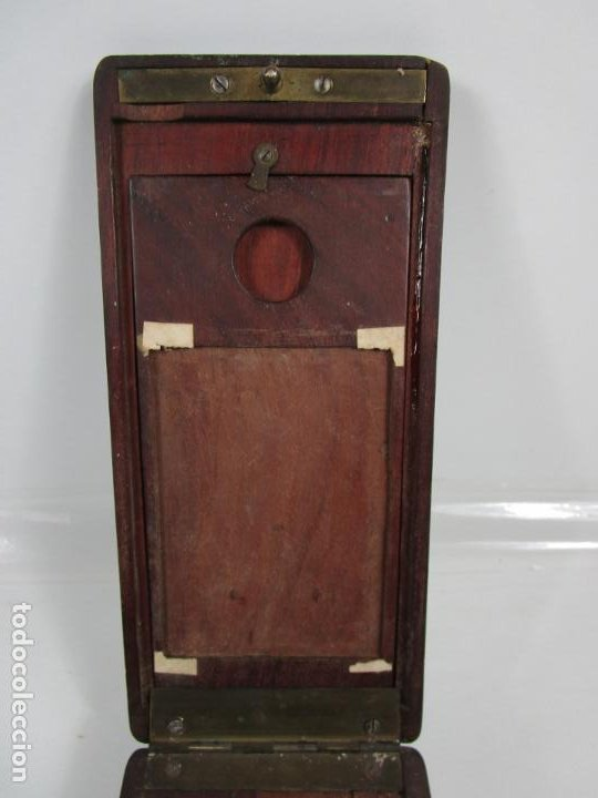 Antigüedades: Curiosa Caja, Neceser - Porta Fotos - Madera de Caoba - Utensilio en Hueso - S. XIX - Foto 4 - 199695320