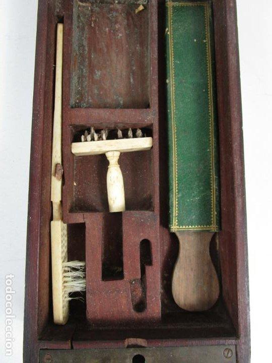 Antigüedades: Curiosa Caja, Neceser - Porta Fotos - Madera de Caoba - Utensilio en Hueso - S. XIX - Foto 10 - 199695320