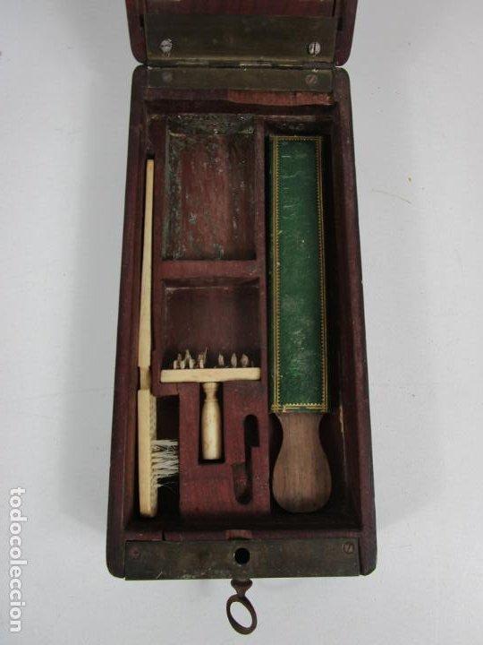 Antigüedades: Curiosa Caja, Neceser - Porta Fotos - Madera de Caoba - Utensilio en Hueso - S. XIX - Foto 21 - 199695320