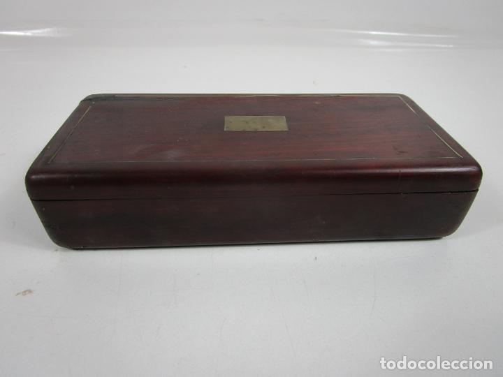 Antigüedades: Curiosa Caja, Neceser - Porta Fotos - Madera de Caoba - Utensilio en Hueso - S. XIX - Foto 32 - 199695320