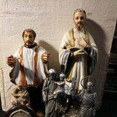 Antigüedades: LOTE DE SANTOS ANTIGUOS. 15CM EL MAS GRANDE 5CM EL MAS PEQUEÑO. MADERA. TERRACOTA Y METAL. Lote 199704635