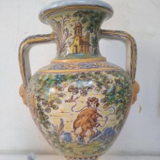 Antigüedades: JARRÓN DOS ASAS RUIZ DE LUNA. TALAVERA. Lote 199726492
