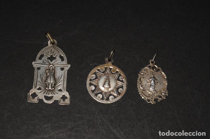 LOTE DE 3 MEDALLAS RELIGIOSAS EN PLATA (Antigüedades - Religiosas - Medallas Antiguas)