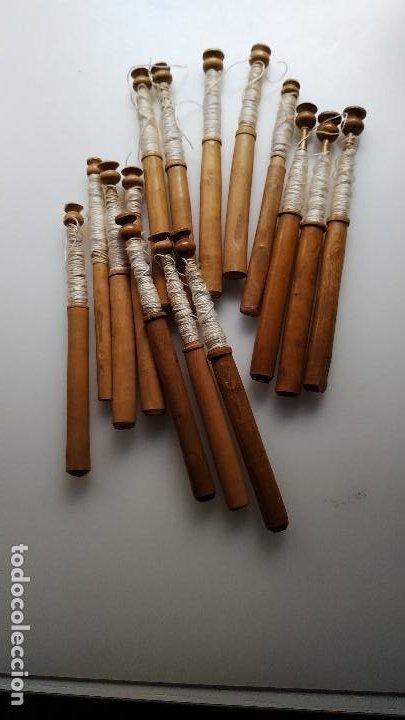 LOTE 15 BOLILLOS ANTIGUOS MADERA (Antigüedades - Moda - Encajes)