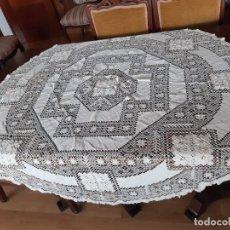 Antigüedades: ANTIGUO MANTEL REDONDO DE HILO DE RED HECHO A MANO.. Lote 199803455