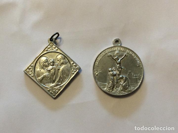 CONJUNTO DE ANTIGUAS MEDALLAS RELIGIOSAS EN ZINC (Antigüedades - Religiosas - Medallas Antiguas)